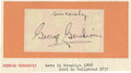 "Autographs:Celebrities, Composer George Gershwin Autograph, 3.5"" x 2"", pasted to 5.75"" x 3""collector's card. Very good condition. A splendid large ... (Total:1 Item)"