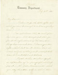 "Autographs:Statesmen, Civil War Secretary of the Treasury Hugh McCulloch Autograph letterSigned, ""H McCulloch"", two pages on Treasury Departm...(Total: 1 Item)"