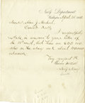 "Autographs:Statesmen, Union Navy Secretary Gideon Wells Autograph Letter Signed, one pageon Navy Department letterhead, 8"" x 9.75"", Washington, D..."