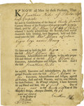 "Autographs:Statesmen, Colonial Pennsylvania Slave Bill of Sale, one page with docketing,6.5"" x 8,25"", Philadelphia, Pennsylvania, June 1, 1751. A..."
