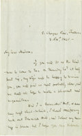 "Autographs:Authors, Scottish Author Thomas Carlyle Autograph Letter Signed, ""T.Carlyle"", two pages, 4.5"" x 7.5"", London, November 3, 1840, ..."
