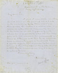 "Autographs:Military Figures, [William T. Sherman] Secretary of the Interior Thomas EwingAutograph Letter Signed, ""T. Ewing"", one page, 8"" x 10"",lik..."