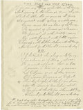 "Autographs:Military Figures, Manuscript Poem, ""The Blue and The Gray"", by James M. Dalzell, four pages, 6.5"" x 8.75"", ca. late 19th century. This documen..."