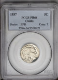 Proof Buffalo Nickels: , 1937 5C PR64 PCGS. Ex: Childs. This needle-sharp and untonednear-Gem is only limited in grade by distributed tiny carbon f...