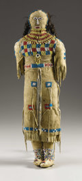 American Indian Art:Beadwork, A PLAINS BEADED HIDE FEMALE DOLL. . c. 1890. ...