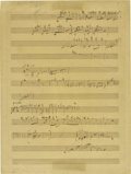 "Autographs:Artists, Jacques Offenbach: Autograph Musical Manuscript. Two pages, 9"" x 12"", musical notation paper with twelve staves. Unsigned ma... (Total: 1 Item)"