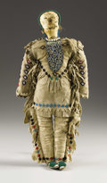 American Indian Art:Beadwork, A PLAINS BEADED HIDE MALE DOLL. . c. 1890. ...