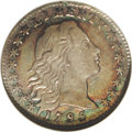 Early Half Dimes: , 1795 H10C AU58 NGC. V-5, LM-8, R.3. Beautifully toned inpowder-blue, salmon-pink, rose-gold, lemon, and lime hues. Acharm...