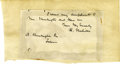 Autographs:Authors, Partial Autograph Note Signed by Herman Melville...