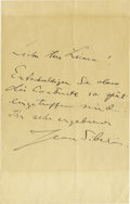 "Autographs:Non-American, Finnish Composer Jean Sibelius Autograph Letter Signed, one page,5.5"" x 8.75"", [n.p., n.d.], to a Herr Lienan. He writes: ""...(Total: 1 Item)"