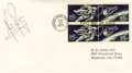 "Autographs:Celebrities, Neil Armstrong Space First Day Cover Signed ""NeilArmstrong,"" 6.5"" x 3.5"". A block of four 5¢ stamps, two pairsof the 5... (Total: 1 Item)"