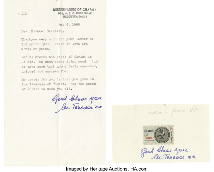 two exceptional mother teresa signed items as follows type lot
