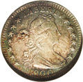 Early Half Dimes: , 1800 H10C AU58 NGC. V-1, LM-1, R.3. Rich jade-green toningdominates the borders, and encroaches on the faintly toned cente...