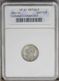 Early Half Dimes: , 1801 H10C --Cleaned, Damaged--ANACS. VF20 Details. V-1,2 LM-2, R.4.Slightly bent with noticeable roughness beneath old blu...