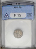 Early Half Dimes: , 1805 H10C Fine 15 ANACS. V-1, LM-1, R.4. Natural gunmetal andgolden surfaces display localized softness and a few faint sc...