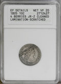Early Dimes: , 1805 10C 4 Berries--Cleaned, Lamination, Scratched--ANACS. XFDetails, Net VF20. JR-2, R.2. A diagonal lamination between 1...