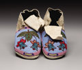 American Indian Art:Beadwork, A PAIR OF CROW BEADED HIDE MOCCASINS. . c. 1915. ... (Total: 2Items)