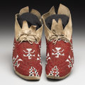 American Indian Art:Beadwork, A PAIR OF CHEYENNE PICTORIAL BEADED HIDE MOCCASINS. c. 1900. ...(Total: 2 Items)