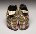 American Indian Art:Beadwork, A PAIR OF SIOUX CHILD'S BEADED HIDE MOCCASINS. c. 1890. ...