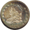 Bust Dimes: , 1827 10C MS65 NGC. JR-12, R.1. Pleasing ocean-blue and honey-gold bands frame untoned centers. This satiny Gem has remarkab...