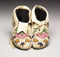 American Indian Art:Beadwork, A PAIR OF PLATEAU BEADED HIDE MOCCASINS. . c. 1890. ... (Total: 2Items)