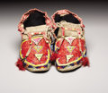 American Indian Art:Beadwork, A PAIR OF SIOUX QUILLED AND BEADED HIDE MOCCASINS. . c. 1925. ...(Total: 2 Pieces)