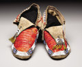 American Indian Art:Beadwork, A PAIR OF SIOUX QUILLED AND BEADED HIDE MOCCASINS. . c. 1890. ...(Total: 2 Pieces)