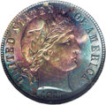 Barber Dimes: , 1911 10C MS68 ★ NGC. Remarkably toned in jade-green, ruby-red,magenta, steel-gray, and golde...