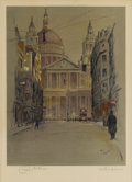 Prints:European Modern, CECIL CHARLES WINDSOR ALDIN (British 1870-1935). St. Paul'sCathedral. Color lithograph. 18 x 13 inches (45.7 x 33.0 cm)...