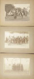 Photography:Cabinet Photos, UMATILLA RESERVATION SNAKE DANCE CEREMONY - SET OF THREE IMPERIALCARDS - ca.1897. A nice set of Idaho Native American image...(Total: 1 Item)