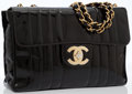 Luxury Accessories:Bags, Chanel Vintage Black Patent Leather Jumbo Flap Bag with GoldHardware. ...