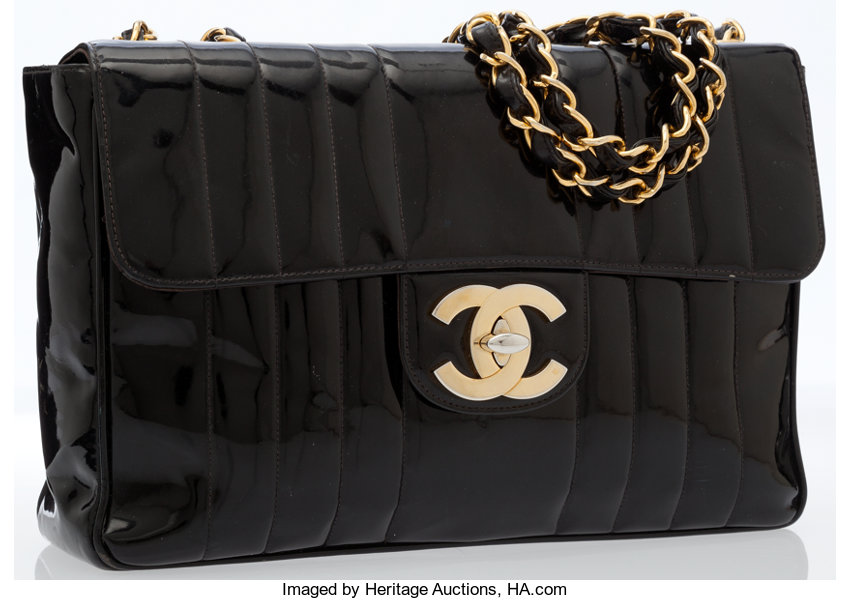 8c22b735d17 Luxury Accessories Bags, Chanel Vintage Black Patent Leather Jumbo Flap Bag  with GoldHardware.