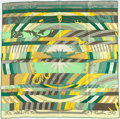 """Luxury Accessories:Accessories, Hermes Green & Yellow """"Astrologie Nouvelle,"""" by FrançoisFaçonnet Silk Scarf. ..."""