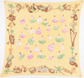 "Luxury Accessories:Accessories, Hermes Yellow & Pink ""La Danse,"" by Jean-Louis Clerc SilkPlisse Scarf. ..."