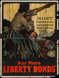 "Movie Posters:War, World War I Propaganda (U.S. Government Printing Office, 1918).Liberty Bonds Poster (30"" X 40"") ""Must Children Die and Moth..."