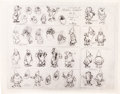 animation art:Model Sheet, Snow White Early Seven Dwarves Animation Art Model Sheet (Walt Disney, 1959)....
