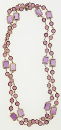 Luxury Accessories:Accessories, Chanel Amethyst Crystal & Gold Sautoir Necklace. ...