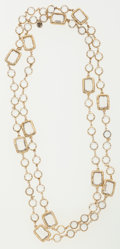 Luxury Accessories:Accessories, Chanel Clear Crystal & Gold Sautoir Necklace. ...