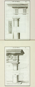 """Books:Prints & Leaves, Pair of Italian Architectural Engravings Depicting Columns. Mattedto 12"""" x 16.5"""". Very good.. ..."""
