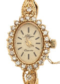 Timepieces:Wristwatch, Lady's Allegro 14k Gold & Diamond Wristwatch. ...