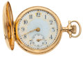Timepieces:Pocket (post 1900), Elgin 14k Gold Fancy Dial Hunter's Case Pocket Watch. ...