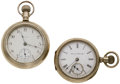 Timepieces:Pocket (post 1900), Elgin & Hampden 18 Size Pocket Watches. ... (Total: 2 Items)