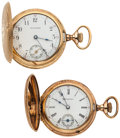 Timepieces:Pocket (post 1900), Waltham & Hampden Gold Filled Hunter Case Pocket Watches Runners. ... (Total: 2 Items)