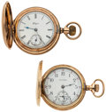 Timepieces:Pocket (post 1900), Elgin & Waltham Gold Filled Hunter's Case Pocket Watches. ...(Total: 2 Items)