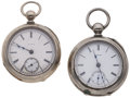 Timepieces:Pocket (pre 1900) , Illinois & Elgin 18 Size Key Wind Pocket Watches. ... (Total: 2Items)