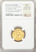 Ancients:Byzantine, Ancients: Heraclius, with Heraclius Constantine (AD 610-641). AVsolidus (4.51 gm)....