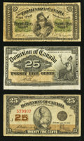 Canadian Currency: , Canada Shinplasters.. ... (Total: 3 notes)