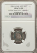 Bust Dimes: , 1821 10C Large Date -- Environmental Damage -- NGC Details. VF. NGCCensus: (5/197). PCGS Population (21/236). Mintage: 1,1...