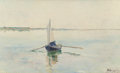 Fine Art - Painting, American:Antique  (Pre 1900), AMERICAN SCHOOL (Late 19th/Early 20th Century). A Summer'sMorning (Rowing on Quiet Waters), 1895. Oil on canvas. 12 x2...