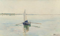 AMERICAN SCHOOL (Late 19th/Early 20th Century) A Summer's Morning (Rowing on Quiet Waters), 1895 Oil